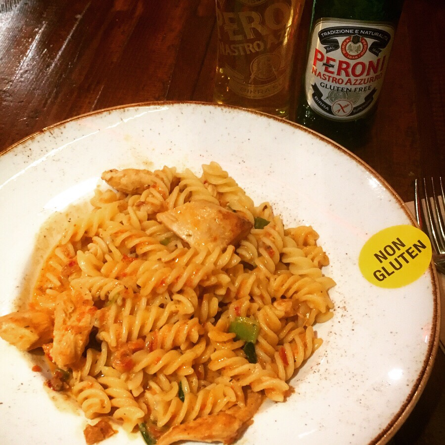 Gluten free pasta from Zizzi.