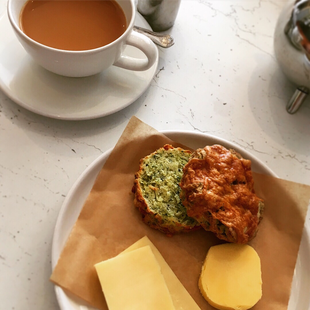 Cheese scone and a cup of tea.