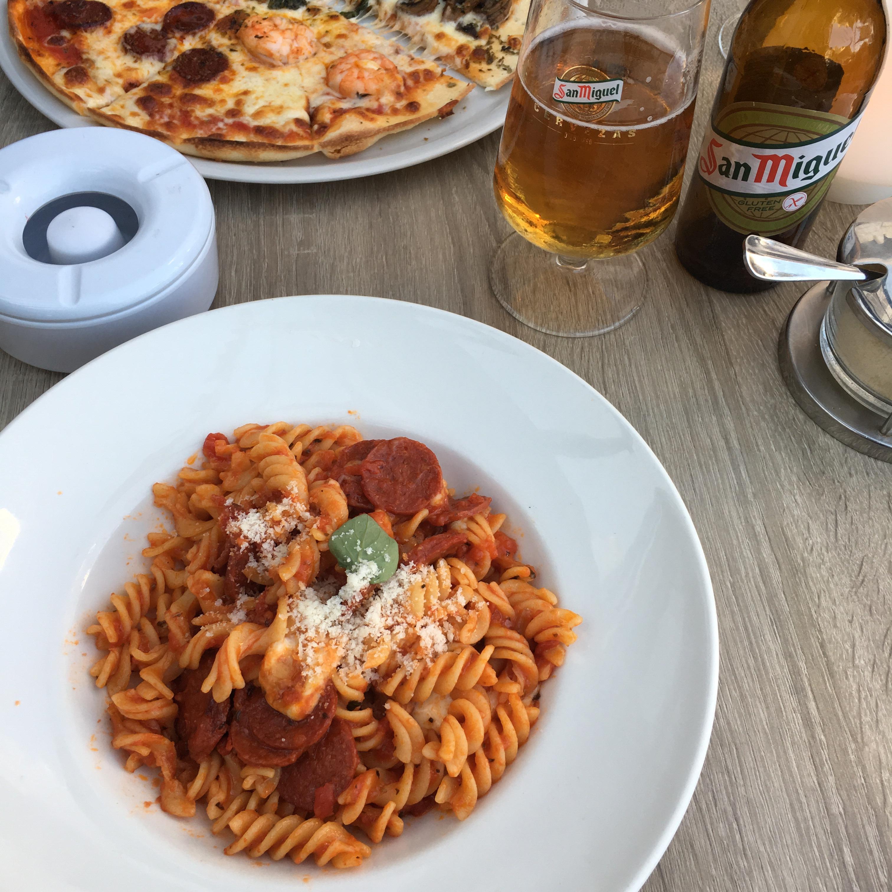 Gluten free pasta with chorizo.